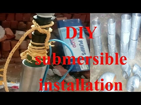 Submersible water pump fitting in borewell/submersible pump installation at home/CRI motor DIY