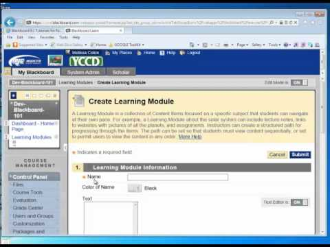 How to Set Up Learning Modules in Blackboard 9.1