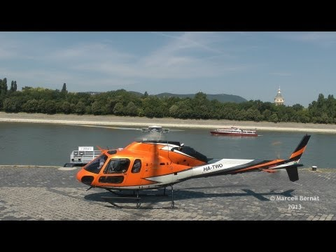 Eurocopter AS-355F2 Ecureuil 2 Full Startup and Takeoff from Dráva Heliport