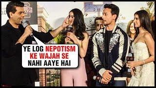 Download Karan Johar DEFENDS Ananya Pandey For Nepotism, Welcomes Tara, Tiger | #SOTY2 Trailer Launch Video