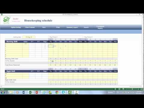 Hotel Housekeeping Schedule Spreadsheet