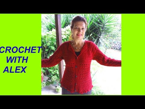 CROCHET TOP DOWN CARDIGAN SHELL STITCH any size tutorial