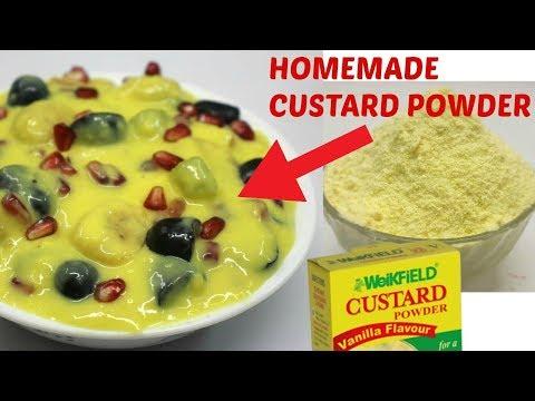 How to make Homemade CUSTARD POWDER & FRUIT CUSTARD Recipe|1 मिनट में घर पर कस्टर्ड पाउडर कैसे बनाये