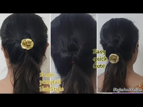 2 min ponytail Hairstyle For College, Office / Easy Ponytail Hairstyle for Medium or long Hair