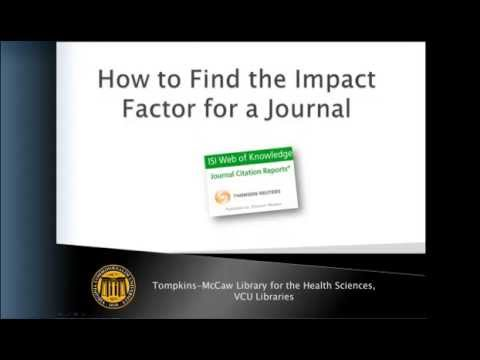 How to Find the Impact Factor for a Journal