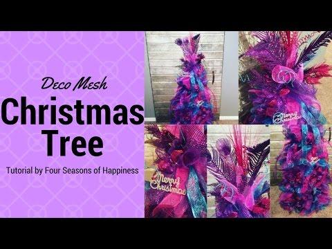 PART 1 deco mesh tomato cage Christmas tree, Christmas tree