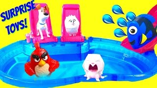 The Secret Life of Pets Dive for Blind Bag Toys at Pool! Dory & Angry Birds!