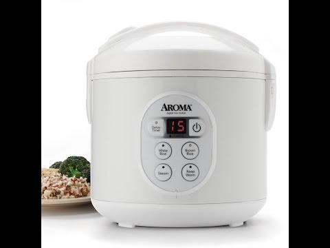 Aroma 8-Cup (Cooked) Digital Rice Cooker and Food Steamer, Stainless Steel