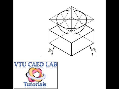 Isometric projection of a Square Prism and Hemisphere