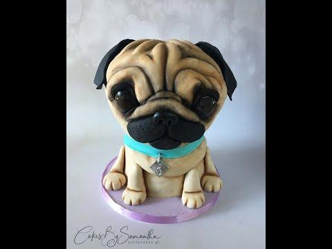 How to Make a Pug Puppy Dog Cake Πως να Φτιάξετε Τούρτα Σκυλάκι Παγκ