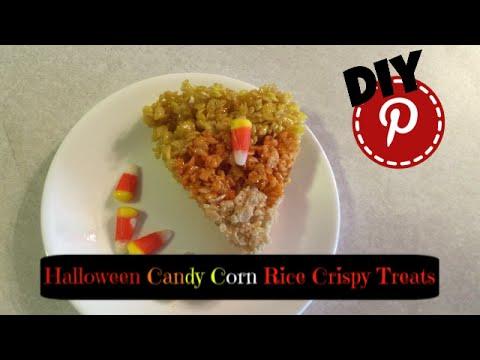 DIY Halloween Food and Snacks - Candy Corn Rice Crispy Treats