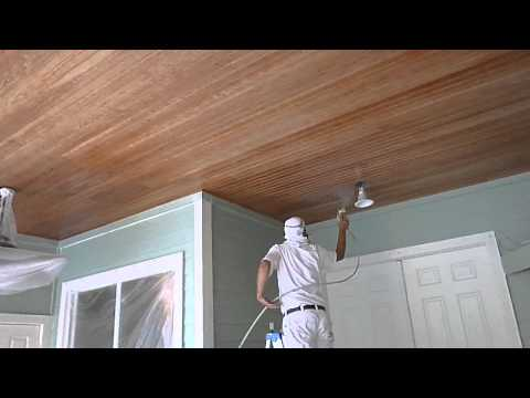 How to Paint Wood Ceilings using Graco Airless Sprayer - Florida Painter