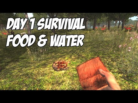 7 Days To Die Tutorial - Day 1 Survival - Food & Water (No cooking pot)