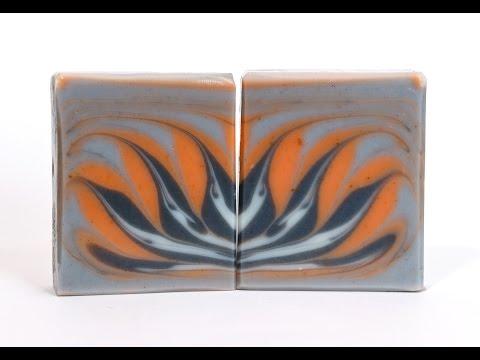 Homemade Soap - Indigo and Paprika Lotus Flower Circling Taiwan Swirl Soap