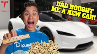 I'LL BUY WHATEVER YOU CAN SPELL CHALLENGE!!! Dad Bought Me a New Tesla!