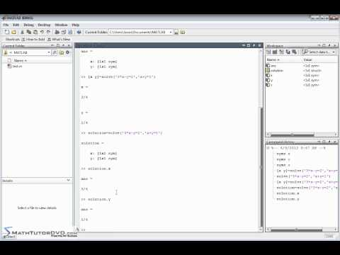 Matlab Essential Skills Sect 36 Solving Systems of Algebraic Equations Symbolically