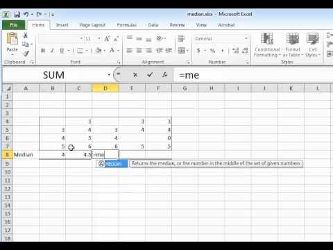 Calculating median in Excel 2010