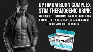 Optimum Burn Complex Stim Thermogenic Drink Supplement Info - HINDI