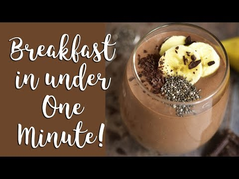 Vegan Smoothie Breakfast in Under One Minute- How to make a Chocolate Peanut Butter Banana Smoothie!
