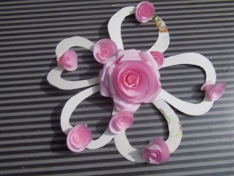 How to make Pink Clour Paper Roses And How to decorate Flowers Real DIY 2015