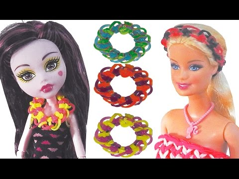 diy Rainbow Loom bands diy for dolls  how to make necklace headband crafts without a loom  tutorial