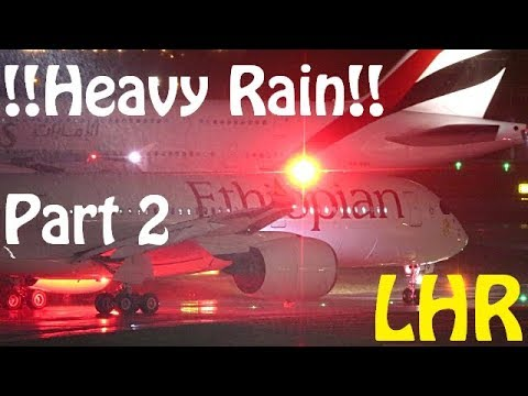 Incredible Heavy Rain Plane Spotting - London Heathrow 09R Night Departures - Part 2