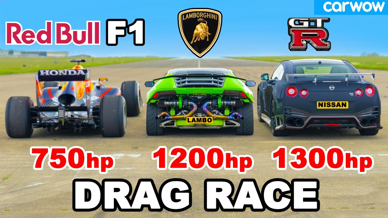 F1 Car v 1200hp Lamborghini v 1300hp GT-R NISMO: DRAG RACE