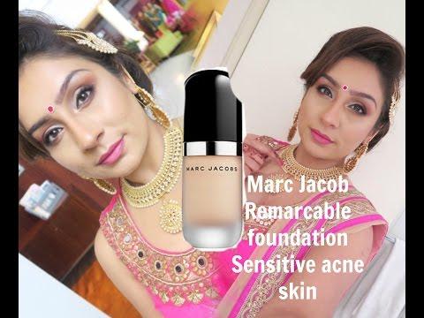 Marc Jacob Remarcable foundation Review & Demo Sensitive Acne skin | RajiOsahn