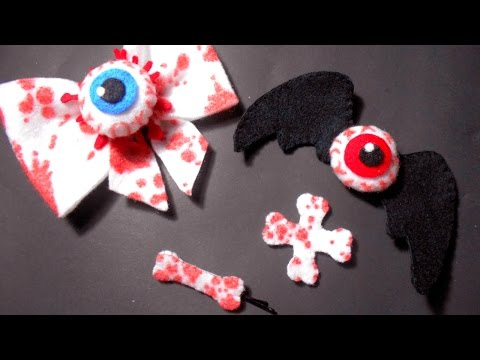 DIY Scary and Cute Halloween Accessories (Eyeballs, Bloody Bones, Bat Wings) | I Wear A Bow