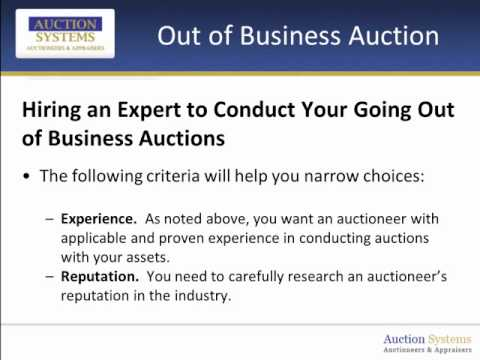 Out of Business Auction - Partnering with the Right Auctioneer