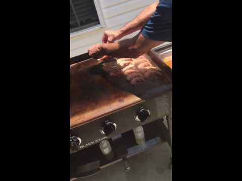 Cooking shrimp on the flat top grill
