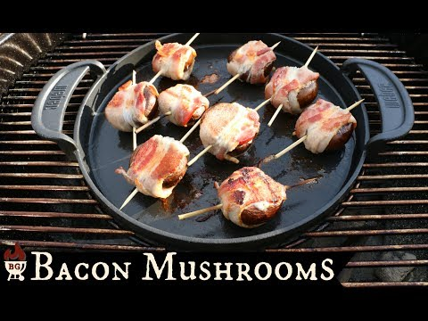 Grilled Bacon Wrapped Stuffed Mushrooms | Weber Griddle Gourmet Barbecue System