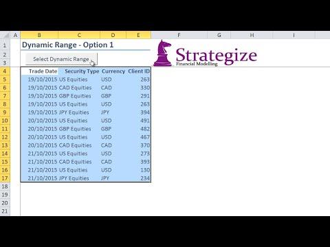 Excel VBA Dynamic Ranges