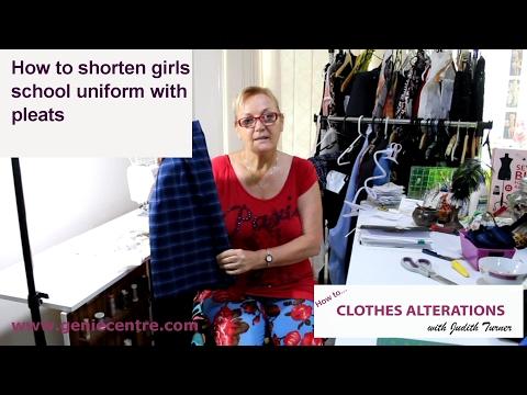 How to shorten girls school uniform with pleats