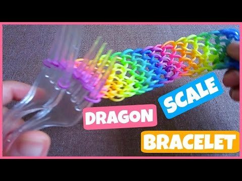 Dragon Scale Rainbow Loom Bracelet without a Loom/ on 2 Forks.