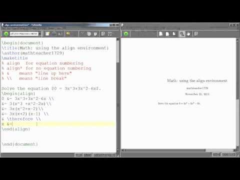 LaTeX Tutorial 05 using the align environment