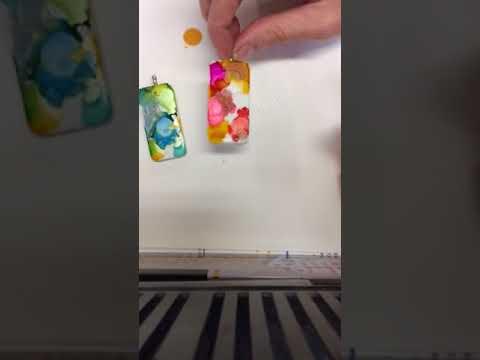 Alcohol Ink Domino Pendant