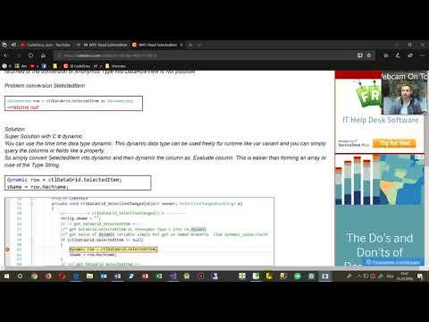 WPF DataGrid SelectedItem Get Column Anonymous Type To Dynamic