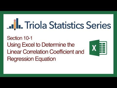 Excel Section 10-1: Using Excel to Determine the Correlation Coeff. & Regression Equation
