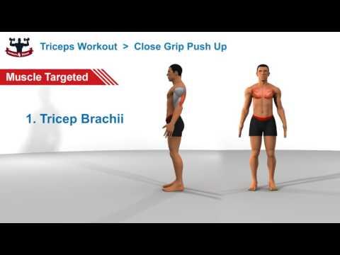Triceps Workout: Close Grip / Diamond Push Up (Burns 81 Calories)