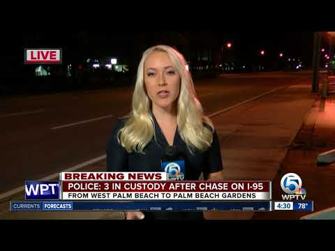3 people in custody after I-95 police chase ends in Palm Beach Gardens