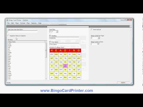7x7 Bingo Card Maker Software - how to generate/create 7 by 7 bingo cards