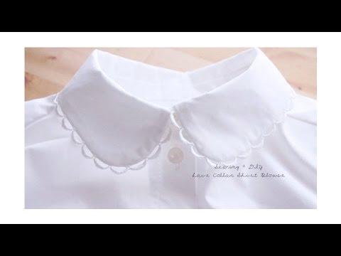 DIY Lace Collar Shirt Blouse // レースカラー シャツ ブラウスの作り方 / Sewing Tutorialㅣmadebyaya
