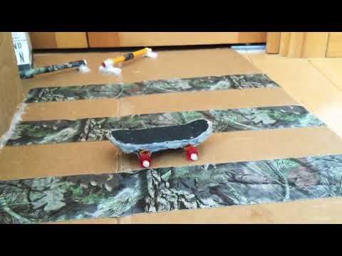 Cardboard tech deck skatepark+homemade tech deck.