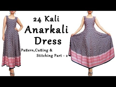 DIY Anarkali Dress with Border |  Anarkali Pattern,Cutting & Sewing Part 2