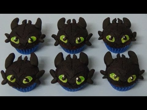 how to make double chocolate mini muffins and decorate as toothless dragon
