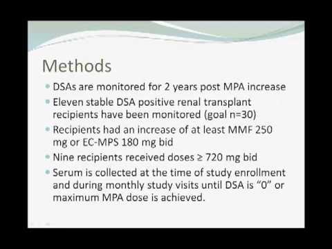 Mycophenolic Acid on donor specific HLA antibody strength in Kidney Transplant Recipients