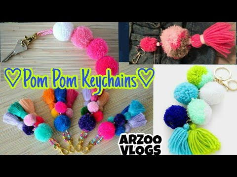 DIY | ♡ Pom Pom Keychains ♡ | How to make the Perfec pom pom key Ring | ARZOO VLOGS