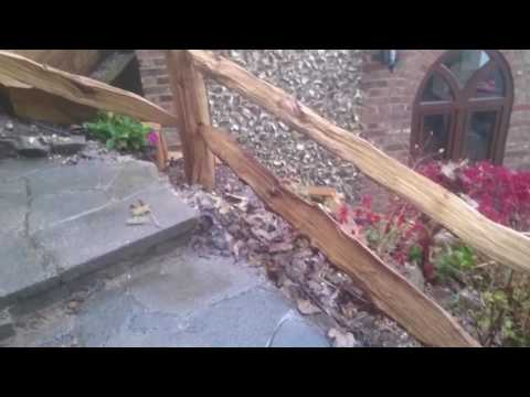 Installation of two rail rustic fences