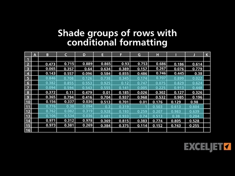 Shade groups of rows with conditional formatting